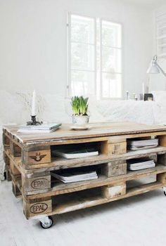 Three pallets high table with built in storage space