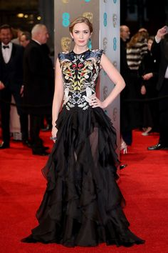 Best Dressed at the 2017 BAFTA Awards: Emily Blunt, What: Alexander McQueen, Why: The actress' embroidered, drop-waisted gown came complete with sheer panels that showed off her legs as she walked. Photo: Getty