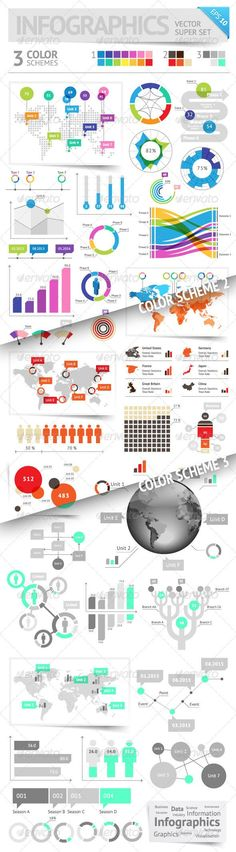 Infographic Design Elements: 3 Color Schemes Infographic design elements: super set in 3 color schemes. Fully editable vector saved as EPS-10, file contains objects with transparency  shadows etc. http://startupstacks.com... - free download #infographics