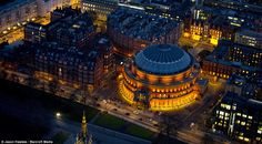 Photo by Jason Hawkes. Views From the Night Sky: London and the U. - The Atlantic Sky London, London Night, London Life, London Pictures, Royal Albert Hall, London Calling, Aerial View, London England, Night Skies