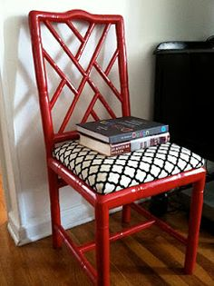red painted bamboo chippendale=- i have this chair, lol Stripping Furniture, Types Of Furniture, My Furniture, Leather Furniture, Furniture Projects, Painted Furniture, Painted Bamboo, Painted Wicker, Painted Chairs