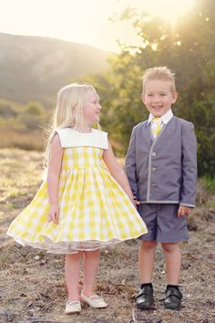 Yellow Gingham Flower Girl Dress Sizes 12m4T by beaneandco on Etsy, $120.00