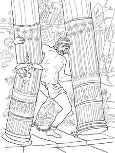 Samson Pushing Down Pillars Coloring Page From Category Select 29867 Printable Crafts Of Cartoons Nature Animals Bible And Many More
