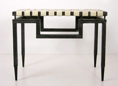 """Woven Leather Bench, iron with hammered black finish and white leather, 24 1/2""""W x 14""""D x 19""""H, $419"""