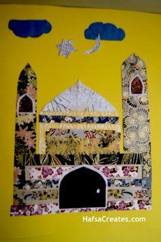 Pyssel. Gör ett moskécollage av pappersbitar eller tygbitar.