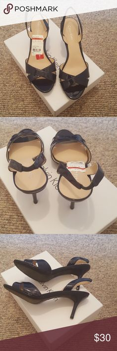 Calvin Klein sandals Dress sandals in dark blue patent. 3 inch heel. NWT. Calvin Klein Shoes Sandals