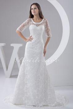 A-line Scoop Court Train Half Sleeve Lace Wedding Dress - $197.99