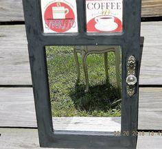 Wood Framed Mirror Vintage Kitchen Mirror Kitchen by APurpleClover