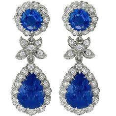 4.81ct_&_1.58ct_Sapphire_1.55ct_Diamond_Drop_Earrings | New York Estate Jewelry | Israel Rose