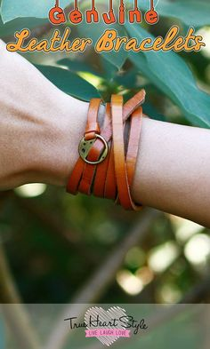 Thin Leather Bracelet. Skinny Belt, Watch Strap, or Wrap Bracelet. Bronze Metal…
