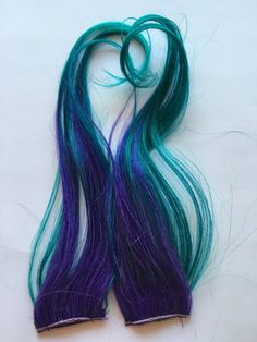 Ombre Human Hair Extensions Streaks Purple and Teal Green Blue