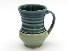 Mug in celadon and blue by One Acre Ceramics. American Made. See the designer's work at the 2015 American Made Show, Washington DC. January 16-19, 2015. americanmadeshow.com #mug, #ceramic, #americanmade