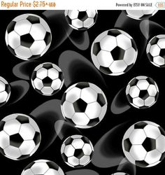 Anniversary Sale Black Large Tossed Soccer Balls Cotton Fabric from the Score Collection by First Blush Studio for Henry Glass Fabrics by CurlyGirlFabric on Etsy