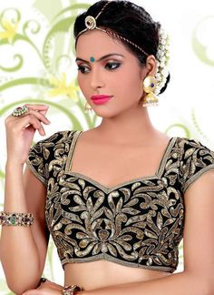 Art silk fabric Black coloured ready choli is designed with sequins, pearl, cutdana work. Blouse Back Neck Designs, Black Blouse Designs, Choli Blouse Design, Choli Designs, Saree Blouse Designs, Saree Jacket Designs Latest, Saree Blouse Patterns, Sari Blouse, Indian Blouse