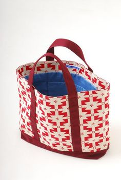 """MAGIC CARPET SMALL TOTE BAG - RED. Cotton tote bag with all over """"Magic carpet"""" print. Base and handles in  block, contrast colour. The bag is fully lined in a bold, contrast sky blue cotton. 100% COTTON. FULLY LINED.  HAND PRINTED IN THE UK. HANDMADE IN THE UK.  http://www.eleykishimoto.com/shop/index.php?_a=viewProd=465"""
