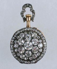 LADY'S WATCH - Rare, Miniature Diamond Encrusted and 14K Gold Pendant Watch…