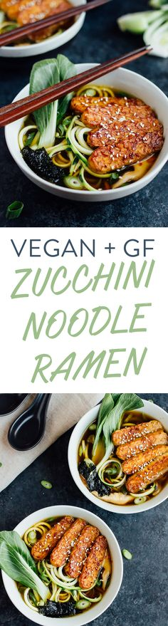 Vegan zucchini noodle ramen bowls with marinated tempeh in a quick-cooking miso mushroom broth. This ramen is savory, healthy and absolutely delicious!