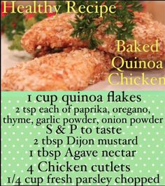 Baked Quinoa Chicken. One of the best chicken recipes. Cant believe its healthy and the kids will love this one. Click on this picture to get the full recipe and instructions.
