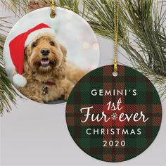 Celebrate your pup's first Christmas with your family with a fun first furever Christmas ornament #photoornamentideas #petphotoornaments #petornaments #christmasornamentideas #personalizedchristmasornaments