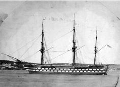 HMS Ganges, a 2nd Rate, 84 gun Man of War. The last sail only warship built for the Royal Navy. Launched November 1821 and broken up 1930. Laid down in Bombay Dockyard