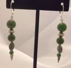 Genuine Green Jade & Silver leverback  earrings for sale at PSP Unique Jewelry @etsy.com Gemstone Jewelry, Unique Jewelry, Beautiful One, Drop Earrings, Gemstones, Etsy, Drop Earring, Gems, Gem