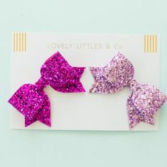 Two Medium Glitter Bows - £10 (PALE PINK/CANDY PINK/NAVY/BLACK)