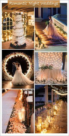 Romantische Abendhochzeitsideen mit Kerzen und Lichterketten