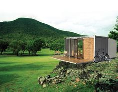 Canada's Bark Design Collective built the All Terrain Cabin (ATC) as a showcase for sustainable ingenuity. The small home is based on a standard shipping container, and is said to be suitable for a family of four, plus a pet, to live off the grid in comfort and style.  The cabin folds up to look like any old shipping container, and can be sent via rail, truck, ship, airplane, or even helicopter. When you're ready to rest your bones, the cabin quickly