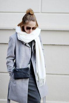 outfit, streetstyle, grey outfit, midi dress, grey coat, half bun, minimal outfit, bezauberndenana