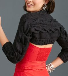 Free Knitting Pattern for Cable Shoulderette