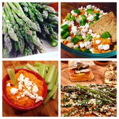 Panko crusted asparagus fries and smoky red pepper hummus