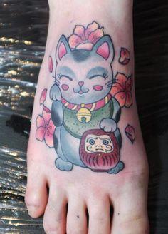 Maneki Neko Tattoo Foot Foot tattoo.