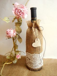 Burlap Wine Bag with clay hearts favorRustic Wine  by accessory8, $6.00
