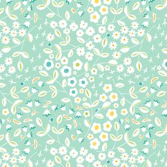 Meadow Blue Ditsy fabric by pattysloniger on Spoonflower - custom fabric  light purple, mustard, tan, dark blue