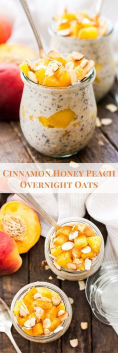 Cinnamon Honey Peach Overnight Oats - Recipe Runner - Fresh summer peaches, warm cinnamon and sweet honey are the perfect combination of flavors in these - Muesli, Granola, Peach Overnight Oats, Best Overnight Oats Recipe, Best Nutrition Food, Child Nutrition, Nutrition Websites, Nutrition Pyramid, Fruit Nutrition
