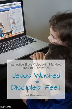Enjoy an interactive Bible story by video and FREE activities for your preschool and elementary-aged child.  Your child will enjoy a Bible story, song, and memory verse time with Ms. Heidi.  www.ABCJesusLovesMe.com/ideas/jesus-washes-the-disciples-feet  #preschoolBible #ABCJesusLovesMe #BibletimewithMsHeidi #JesuswashedDisciplesfeet 