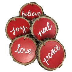 Resin bark ornaments with our favorite Christmas words: Joy, Love, Noel, Peace, and Believe. Each ornament measures diameter. Ornaments are sold. Christmas Words, Christmas Balls, Rustic Christmas, Handmade Christmas, Christmas Fun, Christmas Wreaths, Christmas Ornaments, Christmas Presents, Cabin Christmas
