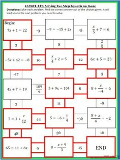 algebra solving one and two step equations mazes free math pinterest maze equation and. Black Bedroom Furniture Sets. Home Design Ideas