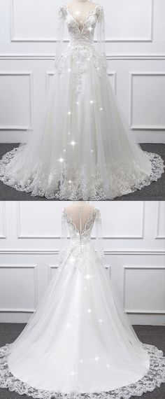 NEW! Graceful Tulle Sheer Jewel Neckline A-line Wedding Dress With Lace Appliques