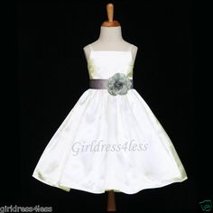 IVORY/SILVER HOLIDAY STRAPS FLOWER GIRL PARTY DRESS 12M 18M 24M 2 3/4 6 8 10 12 | eBay