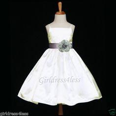 IVORY/SILVER HOLIDAY STRAPS FLOWER GIRL PARTY DRESS 12M 18M 24M 2 3/4 6 8 10 12 | eBay