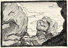 Cross Drawing, Drawing Rocks, Drawing Skills, Drawing Reference, Line Drawing, Ink Pen Drawings, Drawing Sketches, Hatch Drawing, Landscape Sketch