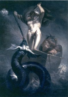 Henry Fuseli (Swiss 1741–1825) [Romanticism] Thor Battling the Midgard Serpent.