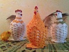 Handmade by Ecola & Dana Art - Wielkanocne kurki Bolero Pattern, Crochet Chicken, Easter Crochet Patterns, Filet Crochet, Happy Easter, Rooster, Diy And Crafts, Decoupage, Stitch