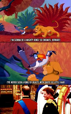 lion king with prince william & harry. hilarious!!!