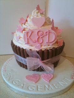 Giant Engagement Cupcake