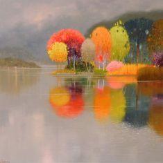 Abstract Landscape Painting, Landscape Art, Landscape Paintings, Impressionist Art, Pastel Art, Acrylic Art, Tree Art, Lovers Art, Painting Inspiration