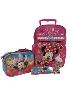 """Minnie Mouse Giant Pretty Bow Large 16"""" Roller Backpack Combo Set. ***Free Shipping for Limited Time Only***Free Shipping Applies to U.S. 50 States...Super Deal Compares to Retail Stores, No Waiting in Lines. Minnie Mouse Giant Pretty Bow Large 16"""" Roller Backpack, Insulated Lunch Bag, Pencil Case with Zipper and One Stylish Sunglasses Set; Color of the Sunglasses will be Sent by Random. New Arrival Comfortable Backpacks, Trendy Handbags, Popular Character Messenger Bags, Lunch Bags and..."""
