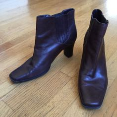 """GNW Brown Leather Ankle Boots GNW """"Kristen"""" Brown Leather Ankle Boots.  Squared toes.  Comfy.  3"""" heels.   Excellent condition. GNW Shoes Ankle Boots & Booties"""
