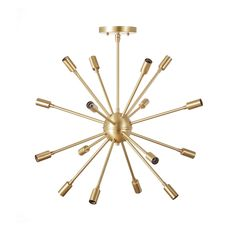 Vintage inspired classic round 16 light sputnik chandelier ready to hang in your living room, dining room, hall, or foyer. Each piece is made with heavy gauge solid brass and finished by hand. Chandelier delivers complete with canopy, articulating hang straight for vaulted / slanted ceilings, and all mounting hardware. Diameter= 24 Hangs 30 in down from the ceiling (measured to bottom of fixture not including bulbs)  For additional down rod: https://www.etsy.com/listi...